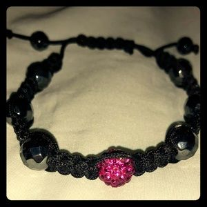 Jewelry - Crystal Ball Hot Pink cord bracelet adjustable